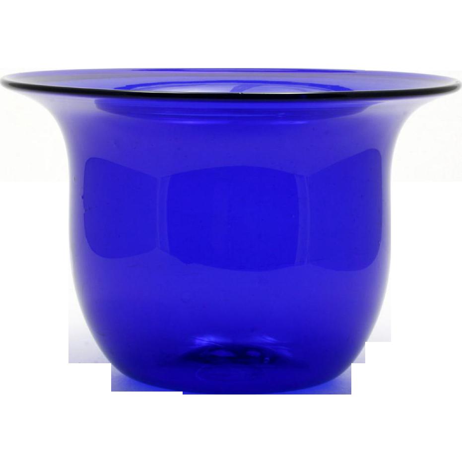 Cobalt Blue Studio Art Glass Vase Bowl Hand Blown Signed T Andre Vintage 1979