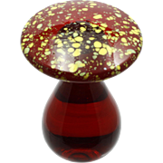 Blenko Art Glass Mushroom Paperweight Red and Yellow Hand Blown Vintage