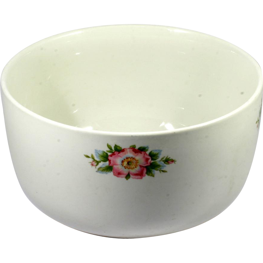 Hall China Rose White 658 Sani-Grid Large Mixing Bowl Vintage 1940s
