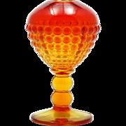 Viking Art Glass Amberina Vase Ivy Ball Vintage Hobnail