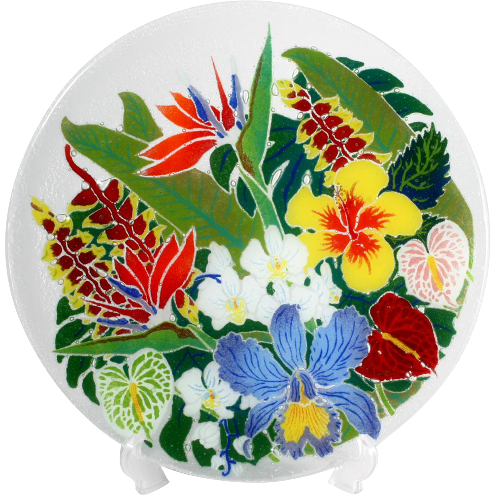 Peggy Karr Tropical Floral Platter Hand Made Fused Slumped Glass Orchid 13 inch Plate