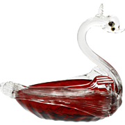 Venetian Ruby Glass Swan Salt Dip AVeM Murano Italian Art Glass Hand Blown