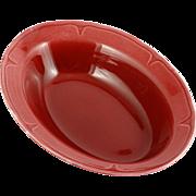 Mount Clemens Pottery Burgundy Petal Oval Serving Bowl Vintage 1930s