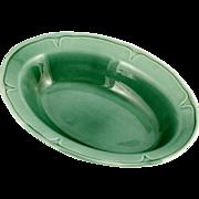 Mount Clemens Pottery Green Petal Oval Serving Bowl Vintage 1930s