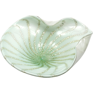 Italian Murano Art Glass Bowl Pale Green with Silver Aventurine Vintage Mid Century