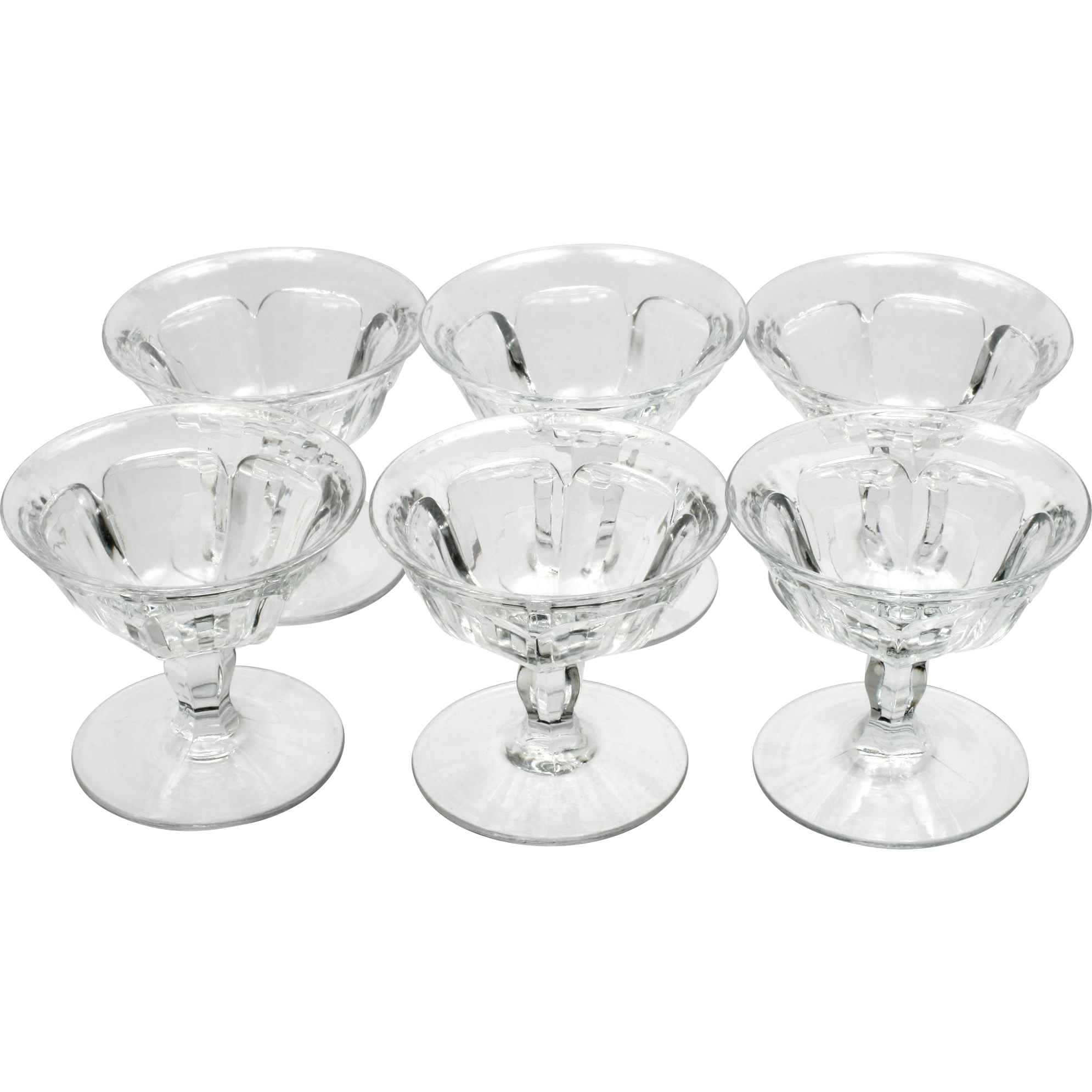 Heisey Colonial Optic Sherbet Glasses Vintage Crystal Stem 359 Set of 6 Antique Crystal
