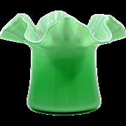 Fenton Top Hat Vase Green Overlay Art Glass Vintage 1940s Double Crimped