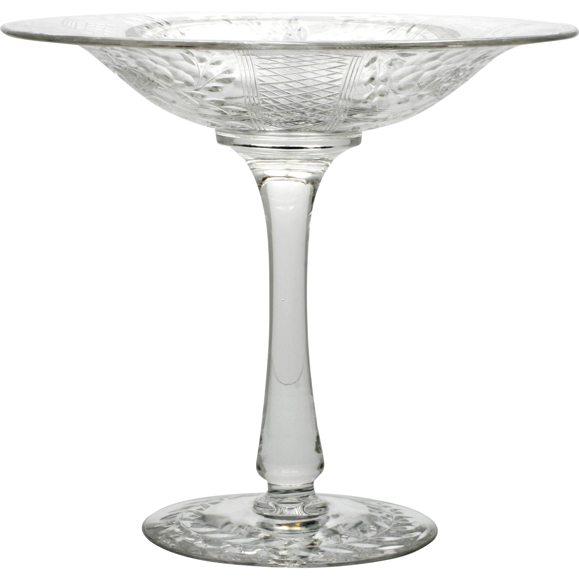 Flower Engraved Elegant Glass Compote Vintage Crystal 1930s
