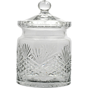 Wedgwood Majesty Crystal Biscuit Barrel English Cut Glass Vintage