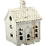 Cast Iron Money Bank Quatrefoil House Vintage Reproduction White Paint