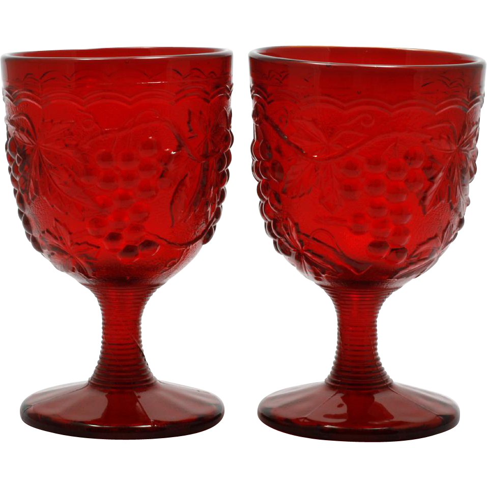 Imperial Glass Ruby Vintage Grape Water Goblets Pair