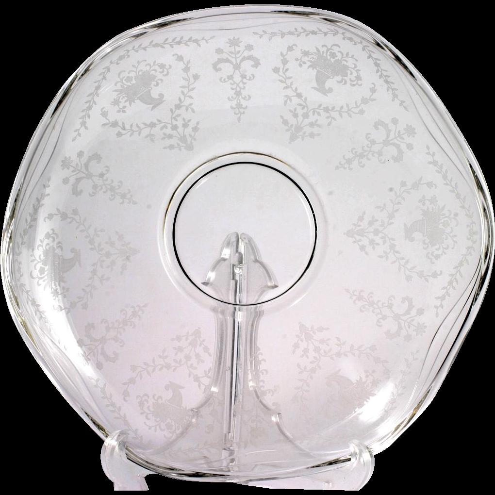 Fostoria Mayflower Vintage Glass Bowl Etched Elegant Crystal Flowers