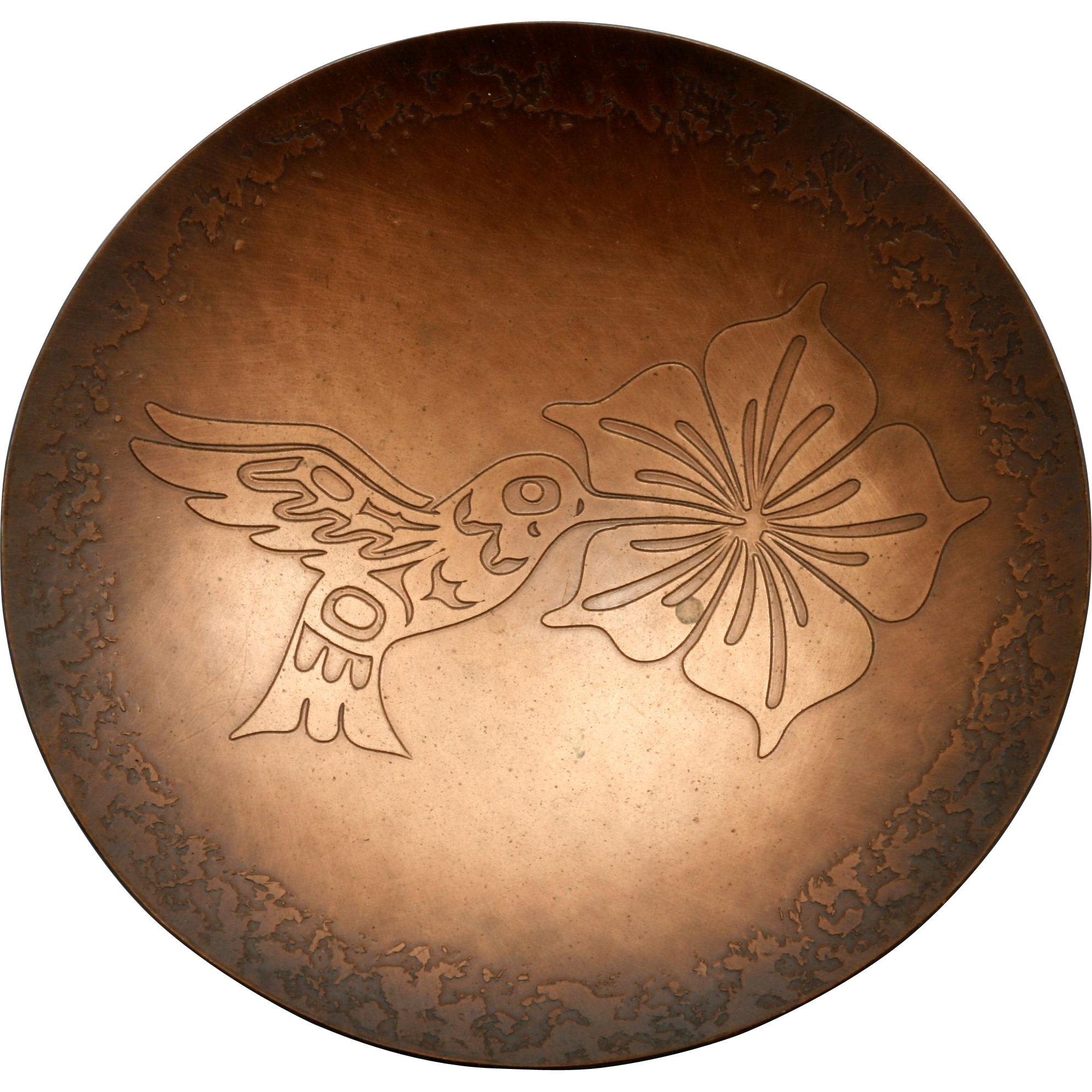 H. Alfred Hummingbird Copper Bowl Pacific Northwest Native Artist Hand Made