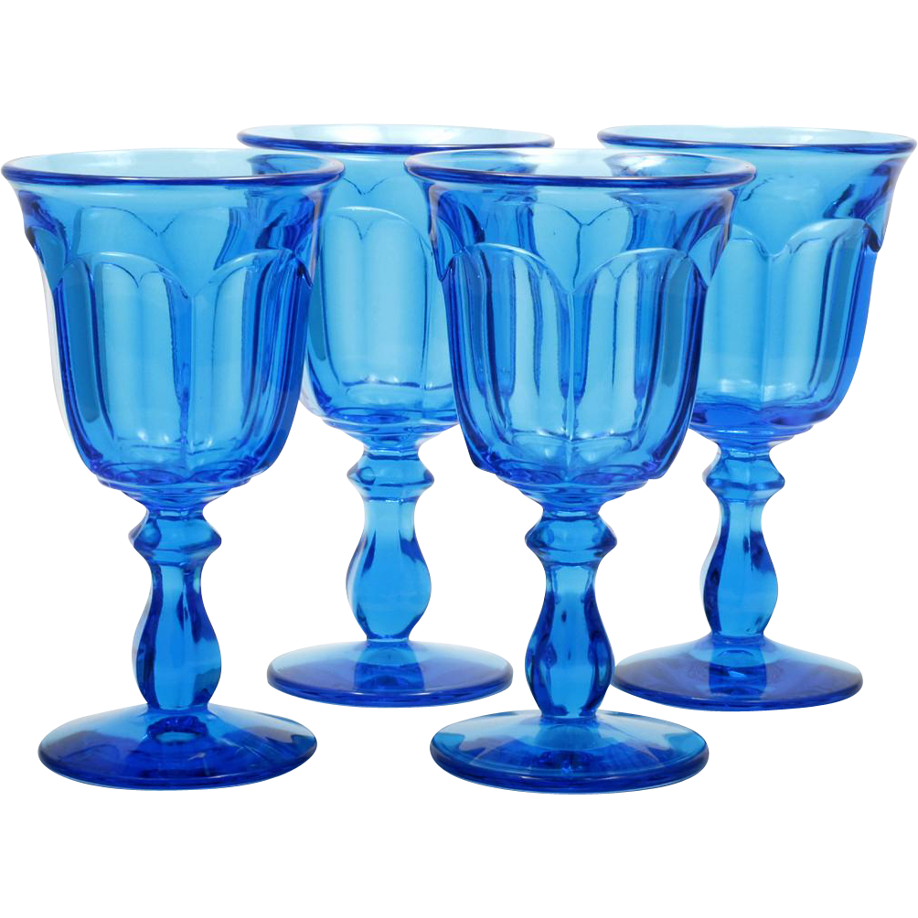 Viking Arlington Glass Goblets Azure Blue Bluenique Art Glass Vintage Set 4