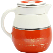 Fraunfelter China Coffee Pot Orange Silver and White Art Deco Pottery