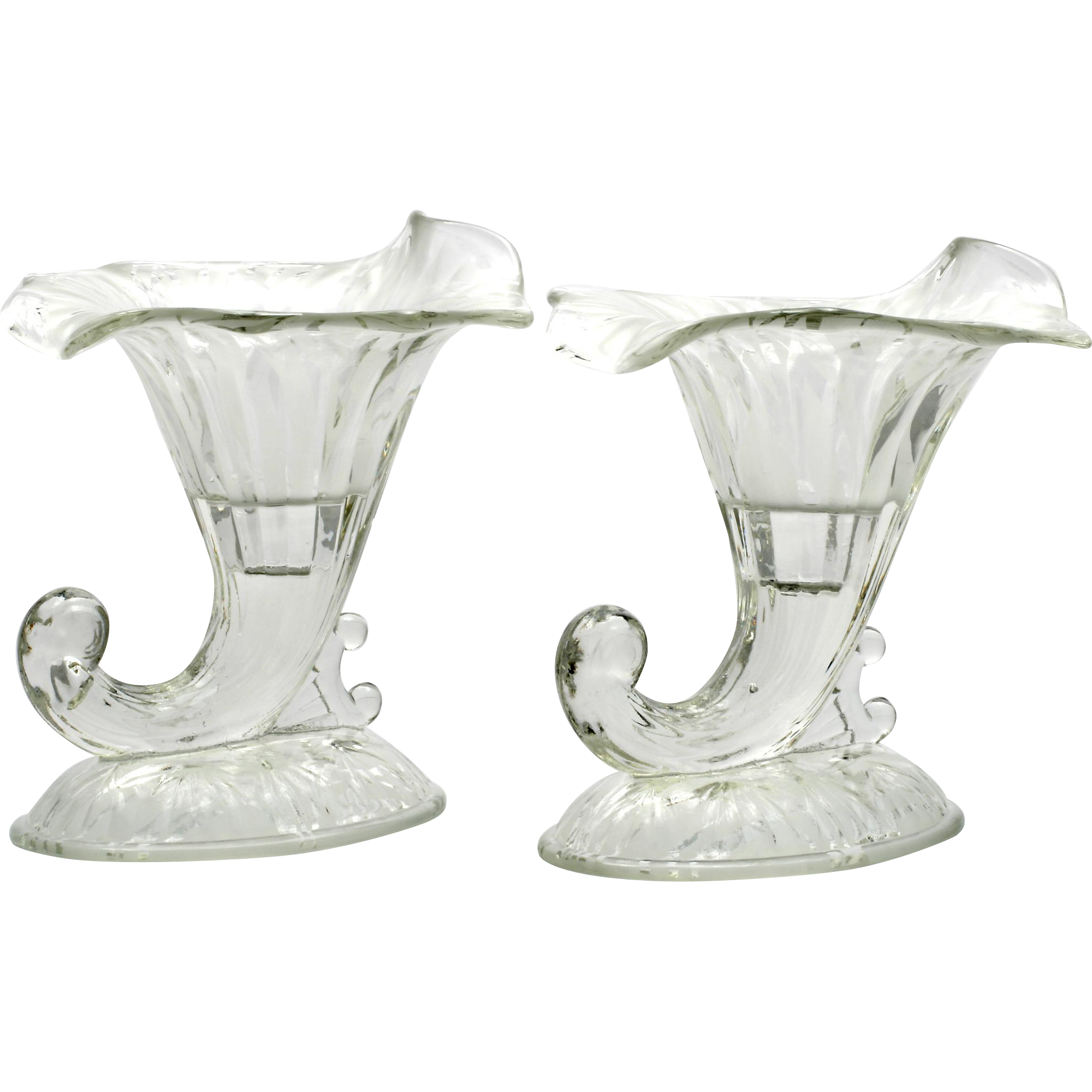 Fenton San Toy Candle Holder Pair Vintage Art Glass Frosted Cornucopia
