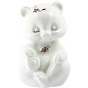 Fenton Art Glass Bear Figurine Milk Glass Violets Hand Painted Vintage Signed
