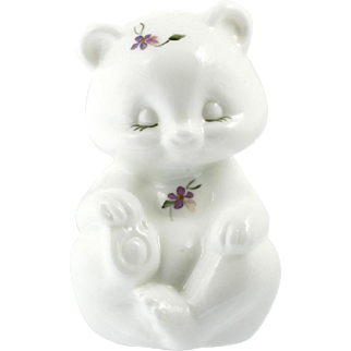 Fenton Art Glass Bear Figurine Milk Glass Violets Hand Painted Vintage Signed