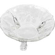 Heisey Rose Etched Mint Dish Elegant Glass Bowl Crystal Vintage