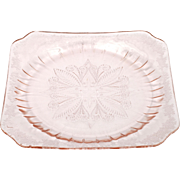 Jeannette Adam Pink Dinner Plate Depression Glass Vintage 1930s Square