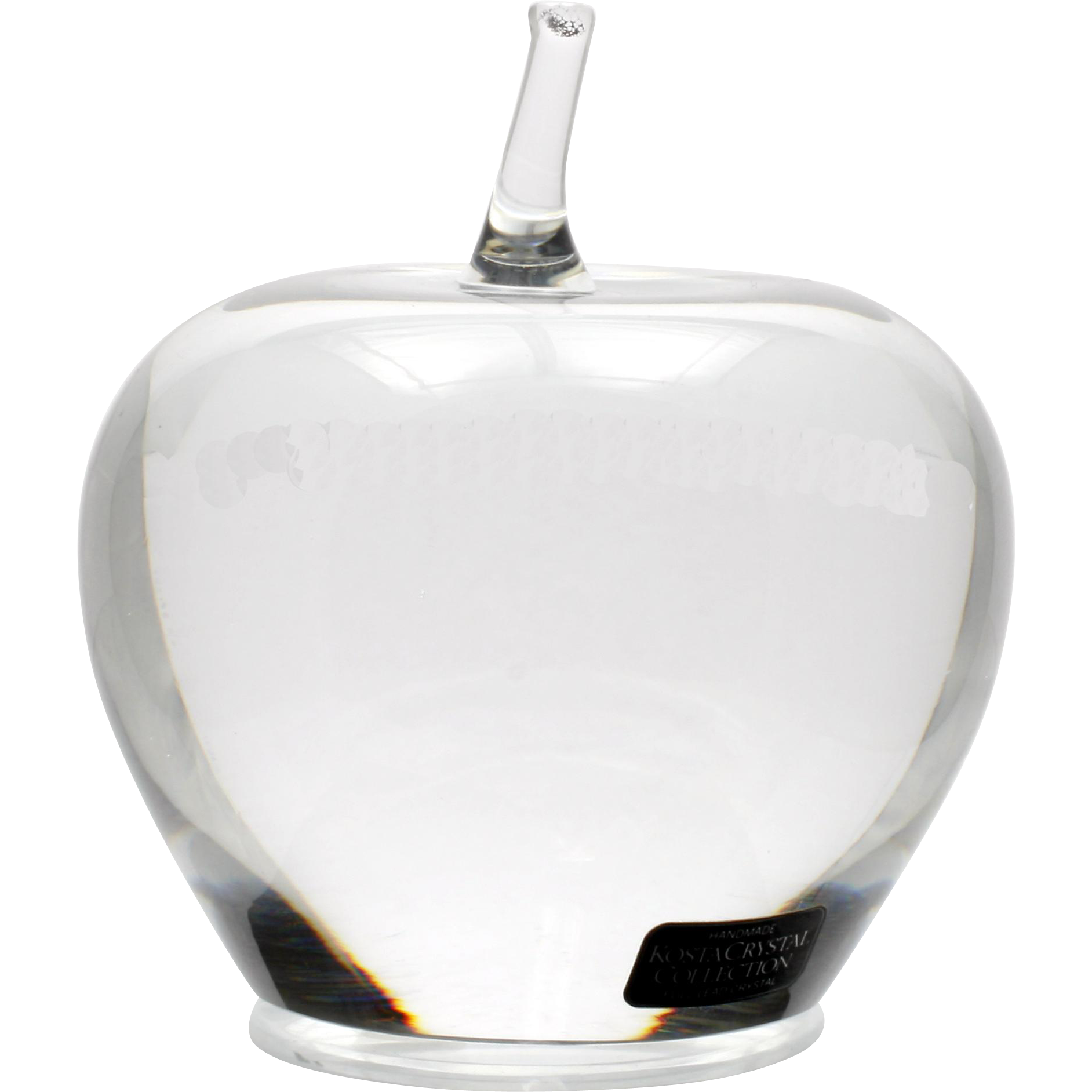Kosta Boda Crystal Apple Paperweight Handmade Lead Crystal Art Glass with Label