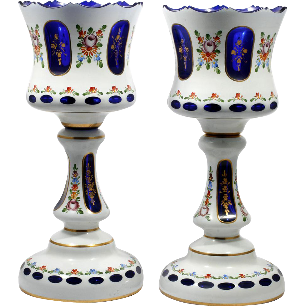 Bohemian Vintage Art Glass Lamps White Cut to Cobalt Hand Painted Flowers