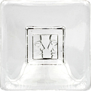 Kosta Boda Two Faces Square Dish or Candle Tray Crystal Swedish Art Glass
