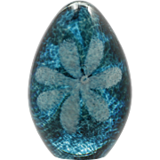 Glass Eye Studio Egg Paperweight Teal Blue with White Flower Art Glass