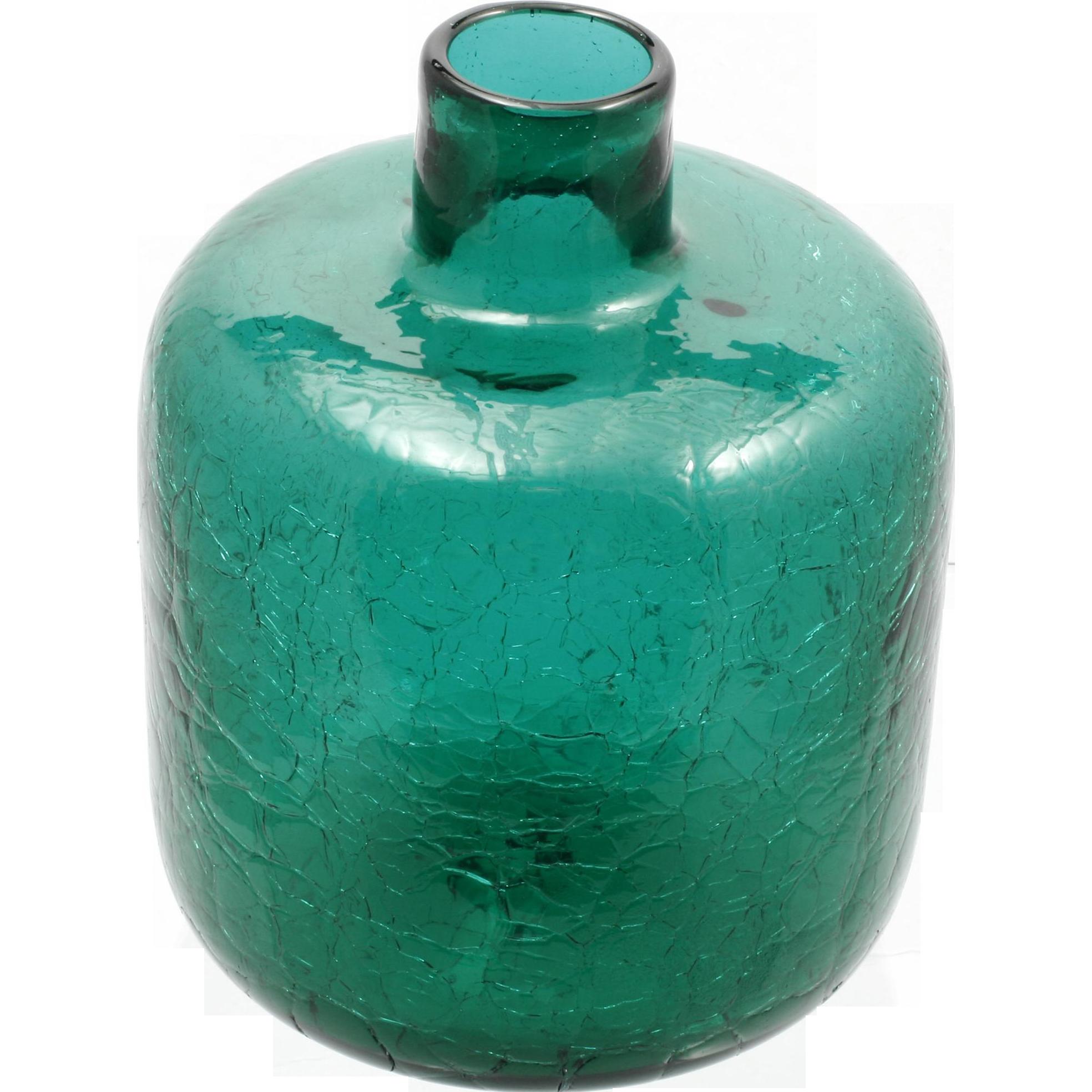 Emerald Green Crackle Glass Vase Blenko Mid Century Modern Vintage