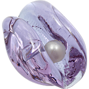 Neodymiam Art Glass Paperweight Oyster with Pearl Purple Blue Hand Blown Alexandrite