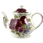 Sadler Windsor English Pottery Teapot Vintage Deep Red Roses 4 cup