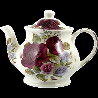 Sadler Windsor English Pottery Teapot Vintage Deep Red Roses 4 cup