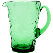 Morgantown Tijuana Green Glass pitcher Vintage Crinkle Art Glass 1940s MCM