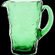 Morgantown Tijuana Green Glass pitcher Vintage Crinkle Art Glass 1940s MCM