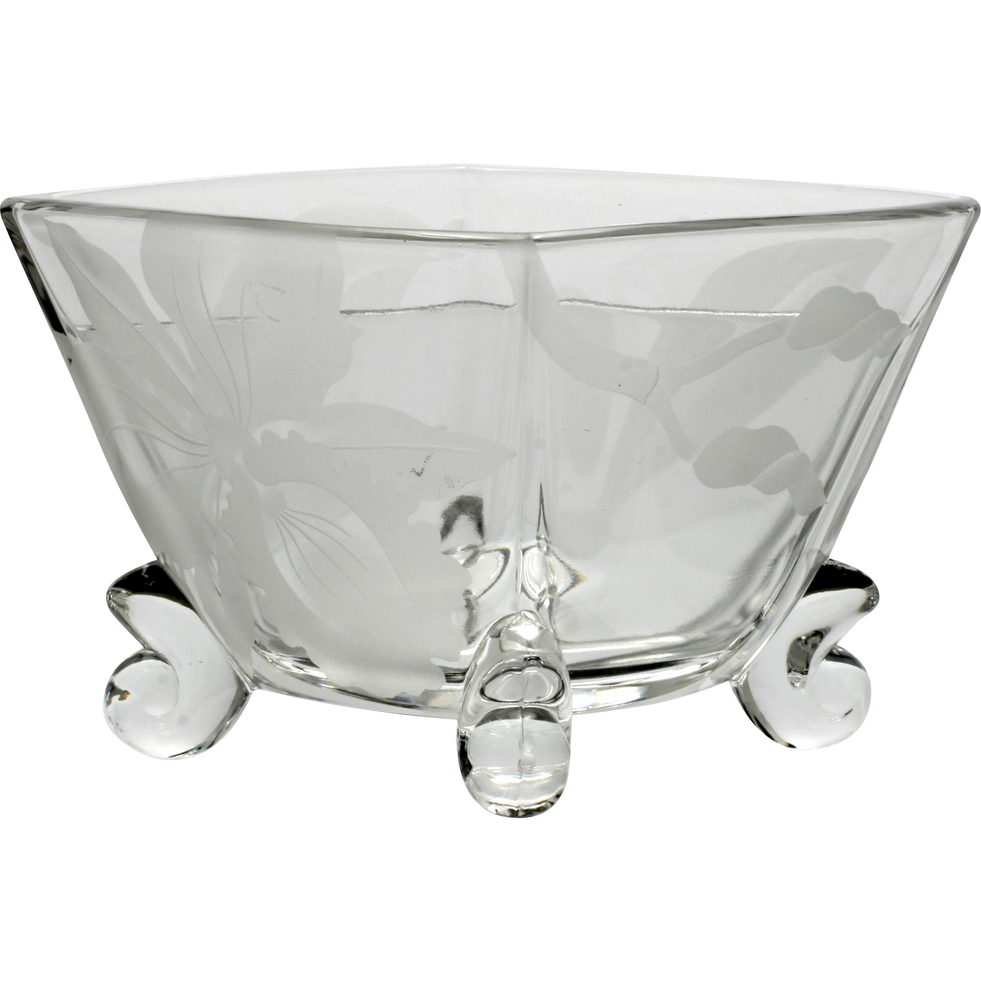 Duncan and Miller Patio Condiment Bowl Sand Blasted Orchid Flower Vintage Crystal