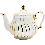 Sadler Teapot Ivory and Gold Swirl English Vintage British Pottery 1940s