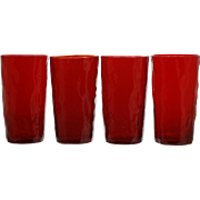 Morgantown Glass Crinkle Ruby Tumblers Set 4 Vintage Mid Century Modern Highball