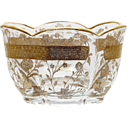 Lotus Buttercup Etched Glass Bowl Divided Mayonnaise Duncan Miller Gold Encrusted