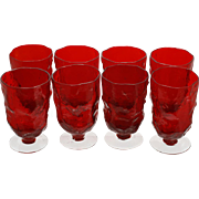 Morgantown Crinkle Ruby Footed Iced Tea Glasses Set 8 Vintage Mid Century Modern