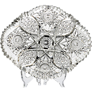 American Brilliant Cut Glass Dish Hobstar and Cane Victorian Crystal Antique