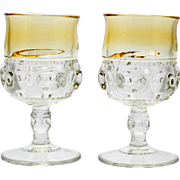 Tiffin Kings Crown Yellow Water Goblets Pair Vintage Elegant Glass Amber