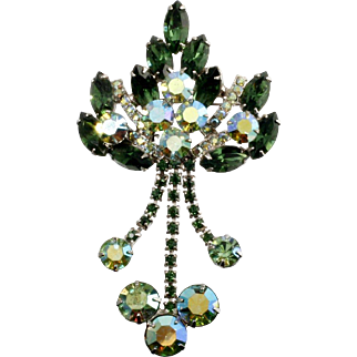 Juliana D&E Emerald Green Brooch AB Rhinestone Dangle Vintage and Verified