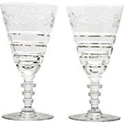 Hawkes Le Moderne Water Goblets Pair American Brilliant Cut Glass Crystal Floral