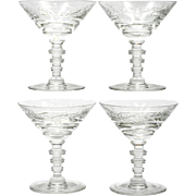 Hawkes Le Moderne Champagne Glasses Set 4 American Brilliant Cut Glass Crystal Floral Vintage