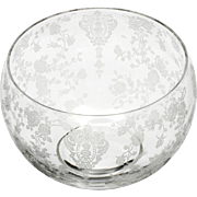 Cambridge Rosepoint Mayonnaise Bowl Crystal Etched Glass Vintage Elegant 1930s