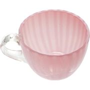 Pink Opalescent Striped Antique Glass Punch Cup Cranberry Cased Glass