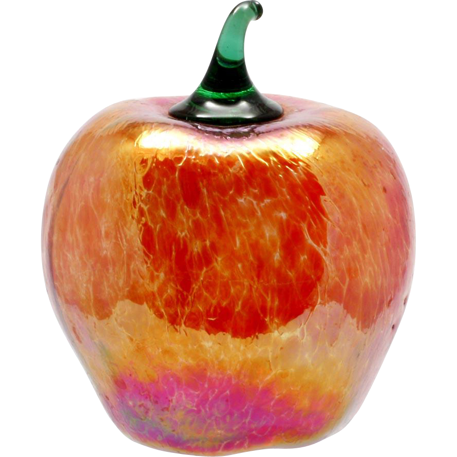 Glass Eye Studio Apple Fruit Art Glass Red iridescent Mouth Blown Seattle Studio