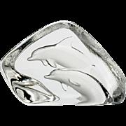 Mats Jonasson Crystal Dolphin Paperweight Swedish Intaglio Art Glass Signed