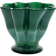 Fenton Mongolian Green Art Glass Fan Vase Vintage 1934 Art Deco Jade Marble