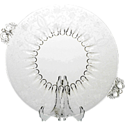 New Martinsville Glass Prelude Plate Vintage Etched Crystal Serving Platter Tray Viking
